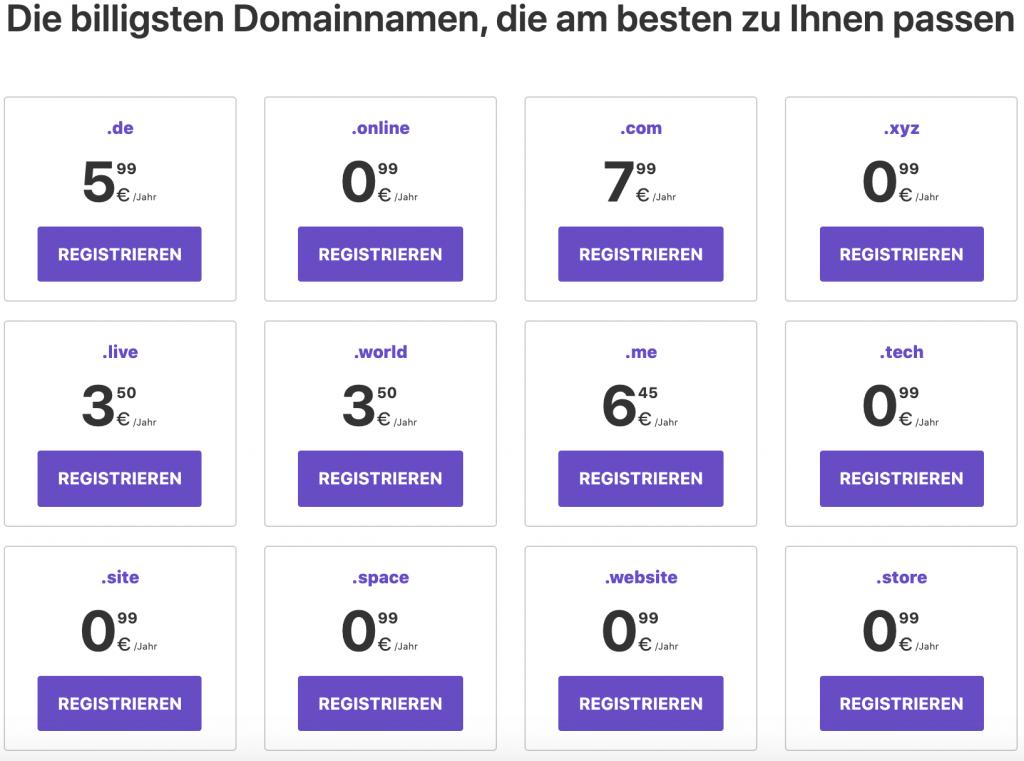 Hostinger Domain Preise
