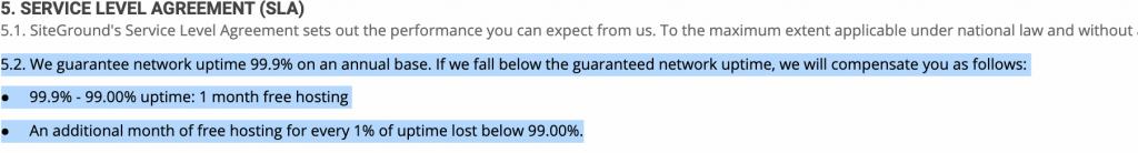 SiteGround Uptime Garantie