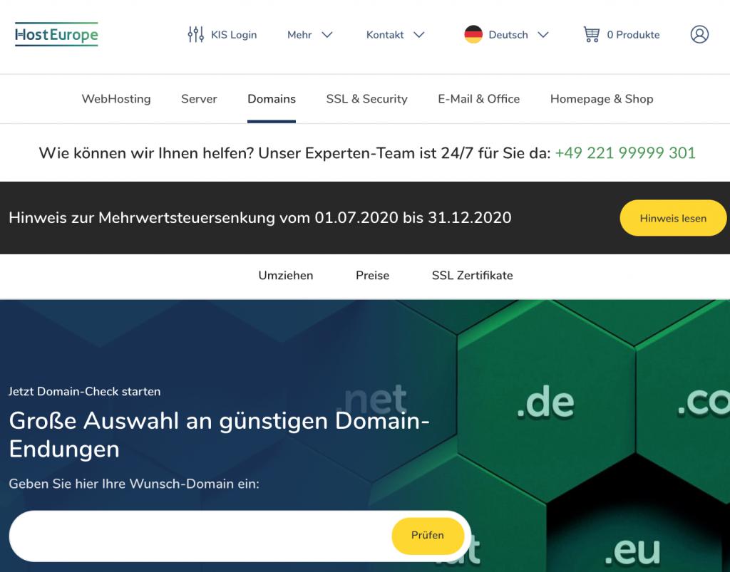 hosteurope Homepage