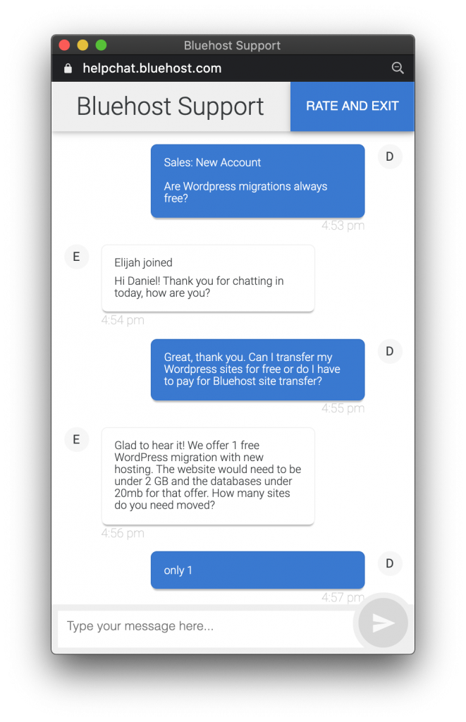 Bluehost Live Chat Customer Support