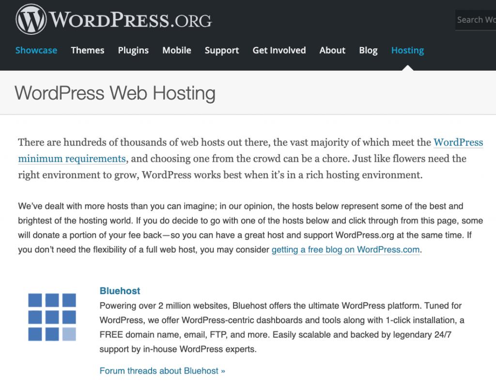 Bluehost von WordPress.org empfohlen