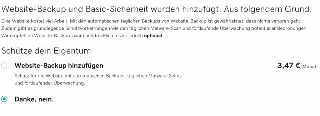 GoDaddy Website Backup Kosten