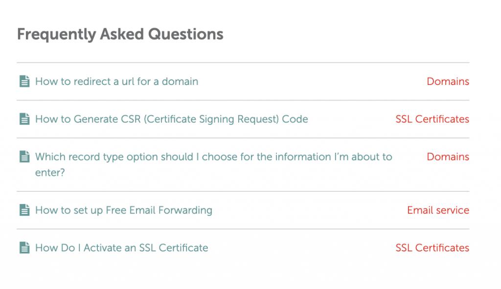 Namecheap FAQ Abschnitt